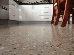 Polished concrete kitchen floor
