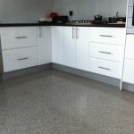 Polished concrete kitchen floor with full grind