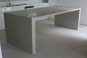 Polished concrete kitchen island bench