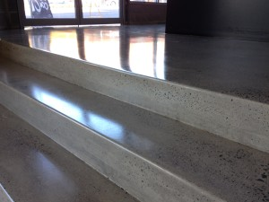 Polished concrete steps with light grind